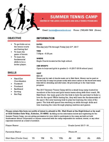 Summer Tennis Camp at Cass
