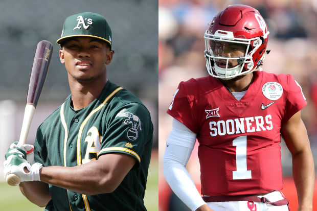 Oklahoma+Quarterback+Kyler+Murray+playing+football+and+baseball.+